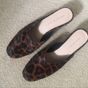 Loeffler Randall calf hair leopard print mules